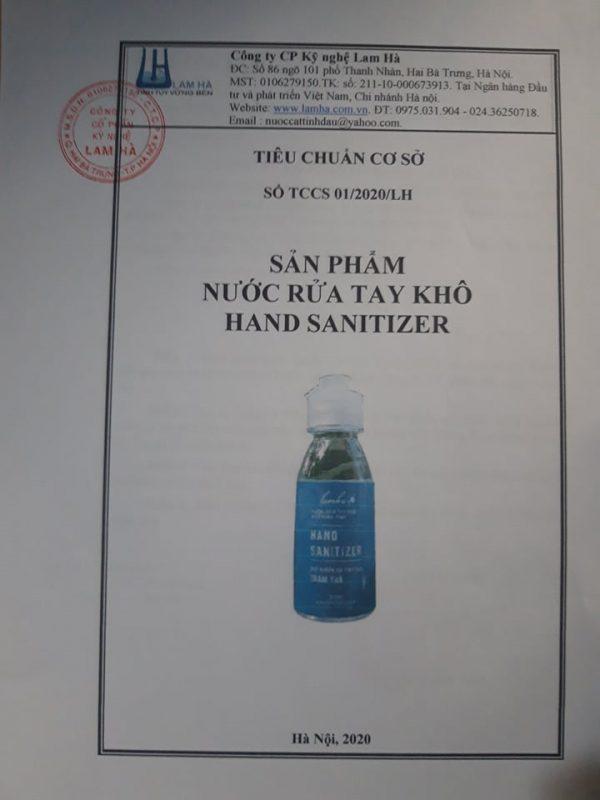 Tiêu chuẩn cơ sở nước rửa tay khô hand sanitizer Lam Hà